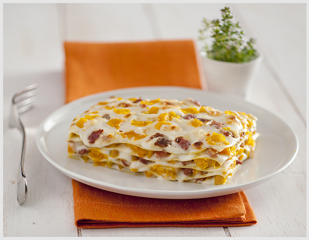 Lasagne alla zucca bacon e ricotta