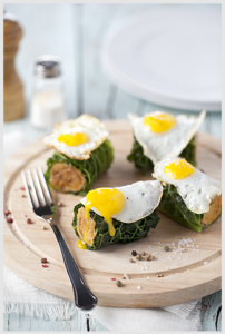 Primor-Rolinhos de alheira com ovo de codorniz